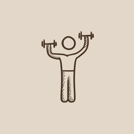 Man exercising with dumbbells sketch icon for web, mobile and infographics. Hand drawn vector isolated icon. Ilustrace