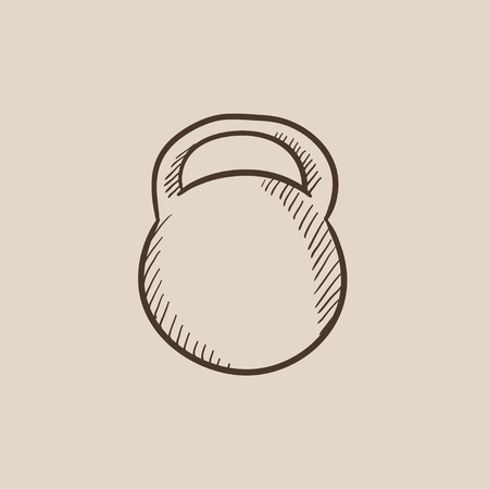 Kettlebell sketch icon for web, mobile and infographics. Hand drawn vector isolated icon.