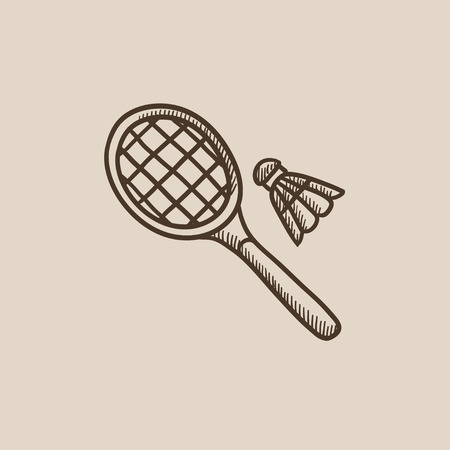 badminton racket: Shuttlecock and badminton racket sketch icon for web, mobile and infographics. Hand drawn vector isolated icon.