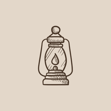 Camping lantern sketch icon for web, mobile and infographics. Hand drawn vector isolated icon.