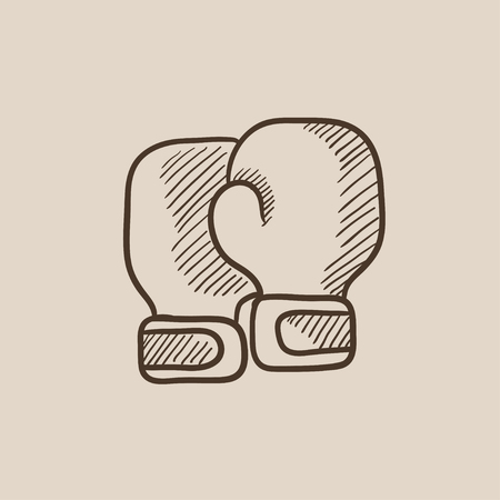 Boxing gloves sketch icon for web, mobile and infographics. Hand drawn vector isolated icon.