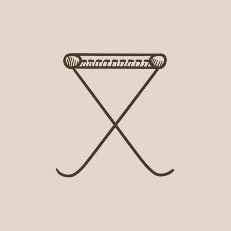 折りたたみ椅子スケッチ アイコン web、モバイルとインフォ グラフィック。手には、ベクトル分離アイコンが描画されます。