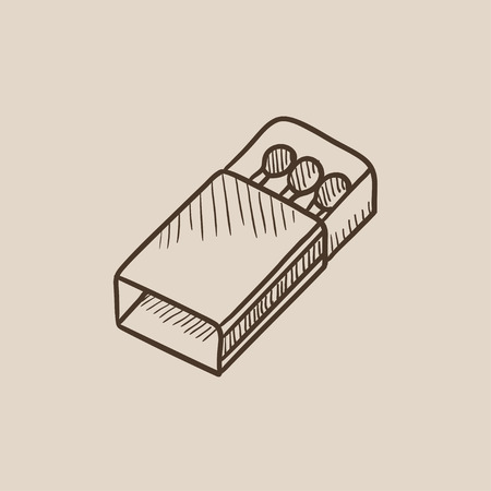 matchbox: Matchbox sketch icon for web, mobile and infographics. Hand drawn vector isolated icon.