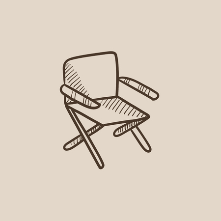 folding: Folding chair sketch icon for web, mobile and infographics. Hand drawn vector isolated icon.