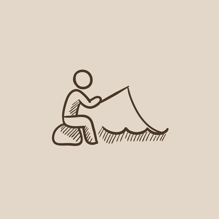 fisher man: Fisherman sitting with rod sketch icon for web, mobile and infographics. Hand drawn vector isolated icon.