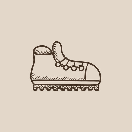 hillwalking: Hiking boot with crampons sketch icon for web, mobile and infographics. Hand drawn vector isolated icon.
