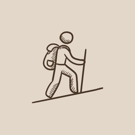 backpacker: Tourist backpacker sketch icon for web, mobile and infographics. Hand drawn vector isolated icon. Illustration