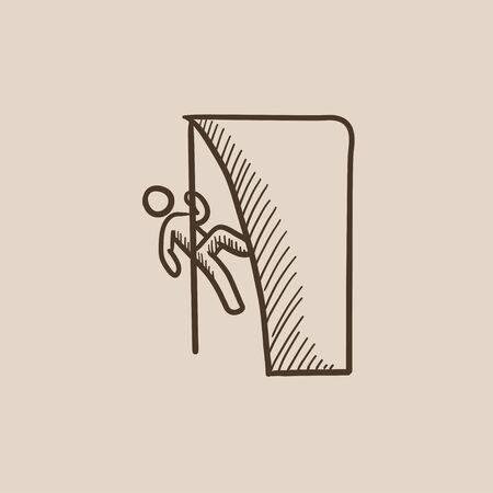 rock climber: Rock climber climbing an overhanging cliff sketch icon for web, mobile and infographics. Hand drawn vector isolated icon.