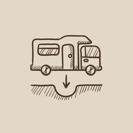 sump: Motorhome and sump sketch icon for web, mobile and infographics. Hand drawn vector isolated icon.