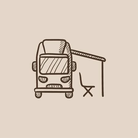 motor de carro: Autocaravana con dibujo icono de tienda de campaña para web, móvil e infografía. aislado vector dibujado a mano icono. Vectores