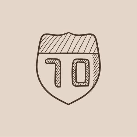 Route road sign sketch icon for web, mobile and infographics. Hand drawn vector isolated icon.