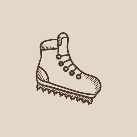 crampons: Hiking boot with crampons sketch icon for web, mobile and infographics. Hand drawn vector isolated icon.