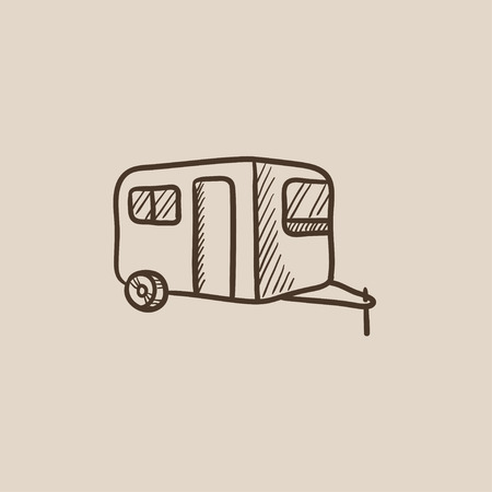Caravan sketch icon for web, mobile and infographics. Hand drawn vector isolated icon.