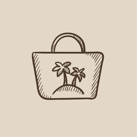 beach bag: Beach bag sketch icon for web, mobile and infographics. Hand drawn vector isolated icon. Illustration