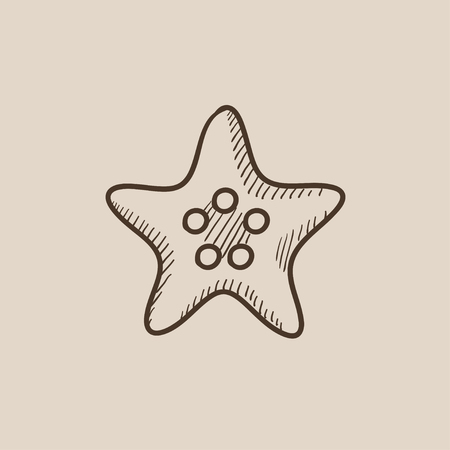 finger fish: Starfish sketch icon for web, mobile and infographics. Hand drawn vector isolated icon.