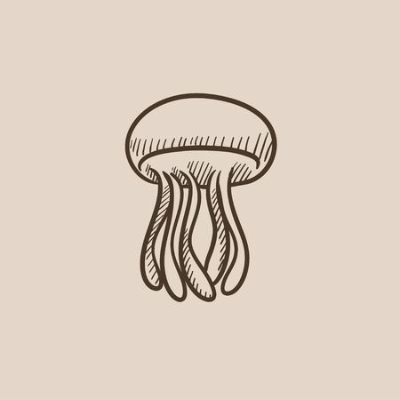 Jellyfish sketch icon for web, mobile and infographics. Hand drawn vector isolated icon.