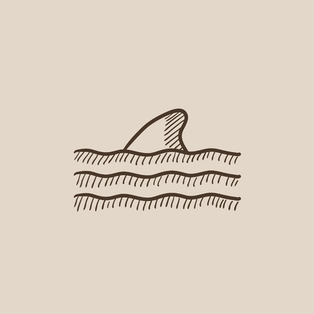 flipper: Dorsal shark fin above water sketch icon for web, mobile and infographics. Hand drawn vector isolated icon.