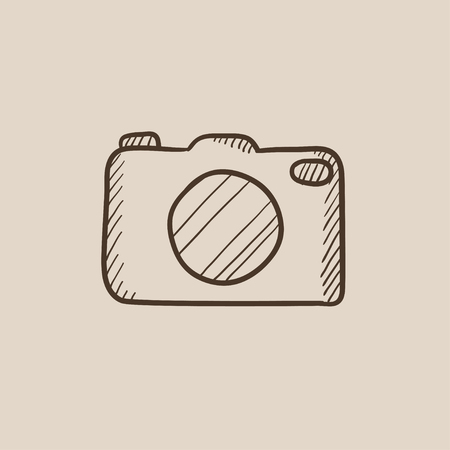 sketch: Camera sketch icon for web, mobile and infographics. Hand drawn vector isolated icon.