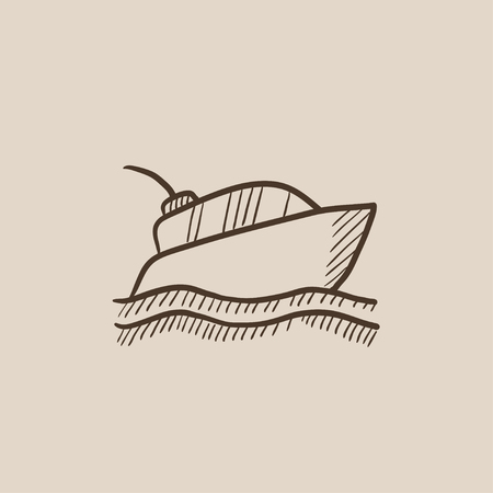 hull: Yacht sketch icon for web, mobile and infographics. Hand drawn vector isolated icon.