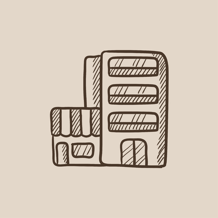 Hotel building sketch icon for web, mobile and infographics. Hand drawn vector isolated icon.