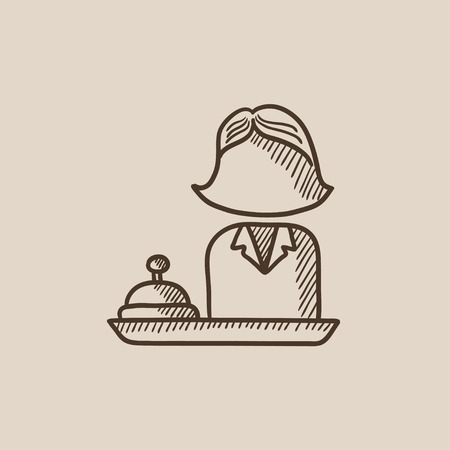 hotel manager: Femal receptionist sketch icon for web, mobile and infographics. Hand drawn vector isolated icon.