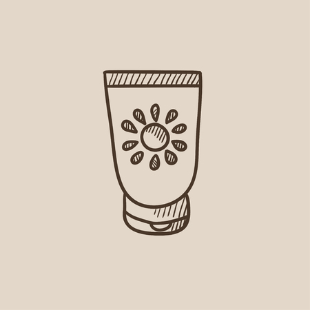 Sunscreen sketch icon for web, mobile and infographics. Hand drawn vector isolated icon. Illustration