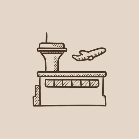 taking off: Plane taking off sketch icon for web, mobile and infographics. Hand drawn vector isolated icon. Illustration