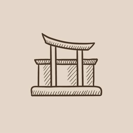 torii: Torii gate sketch icon for web, mobile and infographics. Hand drawn vector isolated icon.