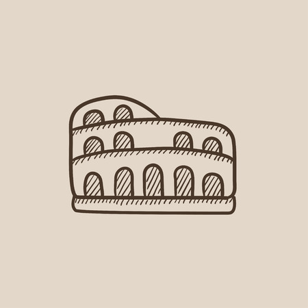 Coliseum sketch icon for web, mobile and infographics. Hand drawn vector isolated icon. Illustration