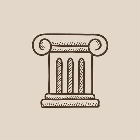 Ancient column sketch icon for web, mobile and infographics. Hand drawn vector isolated icon. Vettoriali