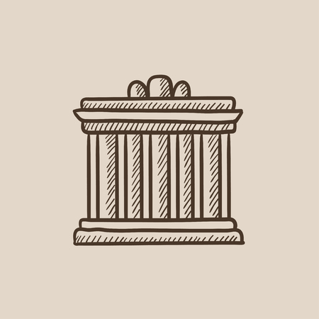Acropolis of Athens sketch icon for web, mobile and infographics. Hand drawn vector isolated icon. Ilustração