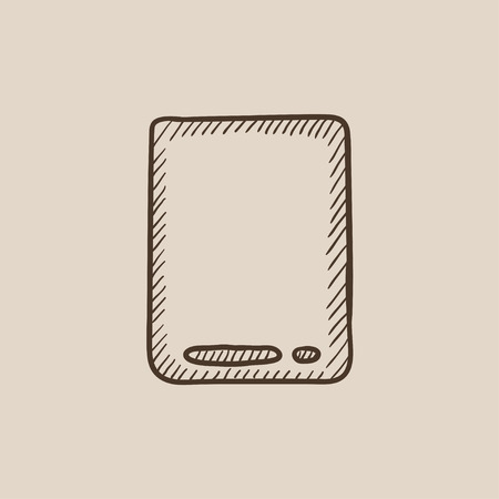 touch screen hand: Touch screen tablet sketch icon for web, mobile and infographics. Hand drawn vector isolated icon. Illustration