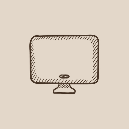 Monitor sketch icon for web, mobile and infographics. Hand drawn vector isolated icon.