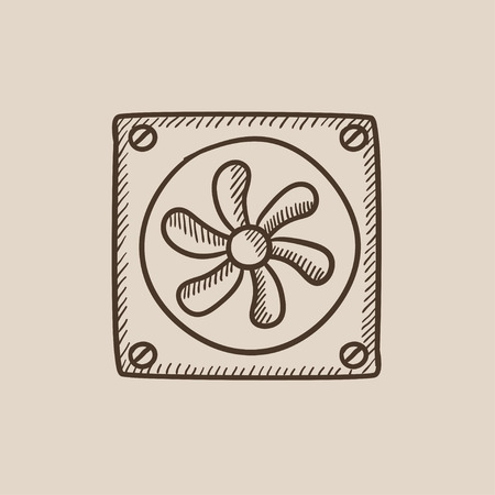 Computer cooler sketch icon for web, mobile and infographics. Hand drawn vector isolated icon.