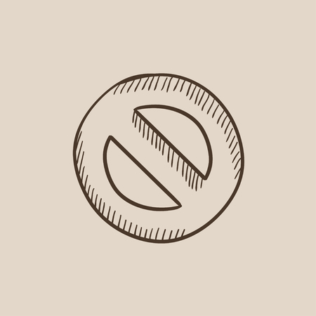 Not allowed sign sketch icon for web, mobile and infographics. Hand drawn vector isolated icon. Ilustração