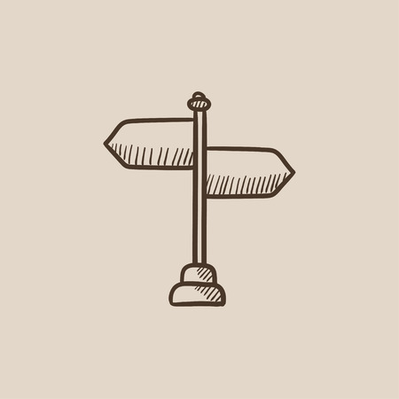multidirectional: Travel traffic sign sketch icon for web, mobile and infographics. Hand drawn vector isolated icon.