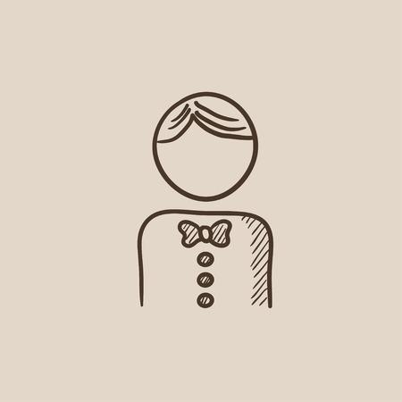 Kellner Skizze Symbol für Web, Mobile und Infografiken. Hand gezeichnet Vektor isoliert Symbol. Vektorgrafik