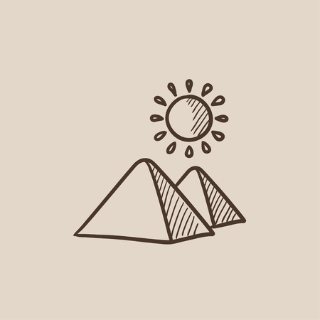cheops: Egyptian pyramids sketch icon for web, mobile and infographics. Hand drawn vector isolated icon. Illustration