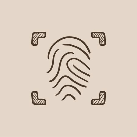 scanning: Fingerprint scanning sketch icon for web, mobile and infographics. Hand drawn vector isolated icon. Illustration