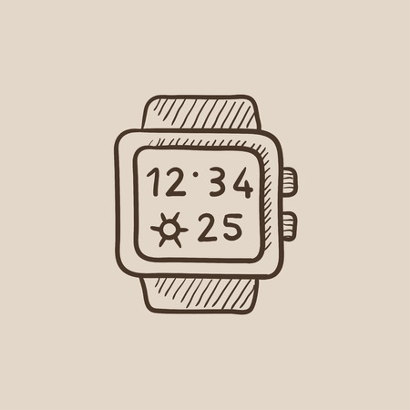 Smartwatch sketch icon for web, mobile and infographics. Hand drawn vector isolated icon.