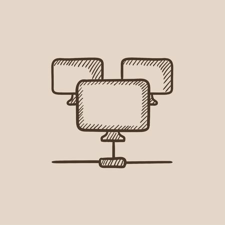 Group of monitors linked in a hierarchical network sketch icon for web, mobile and infographics. Hand drawn vector isolated icon.