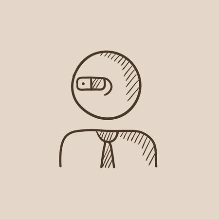 Man in augmented reality glasses sketch icon for web, mobile and infographics. Hand drawn vector isolated icon.