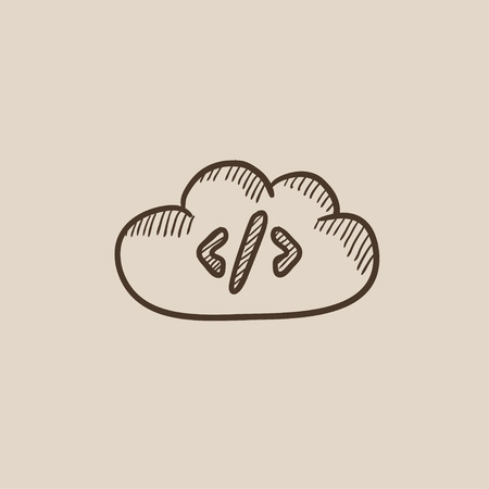 Transferring files cloud apps sketch icon for web, mobile and infographics. Hand drawn vector isolated icon. Illusztráció