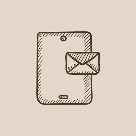 recieve: Digital tablet with message sketch icon for web, mobile and infographics. Hand drawn vector isolated icon. Illustration