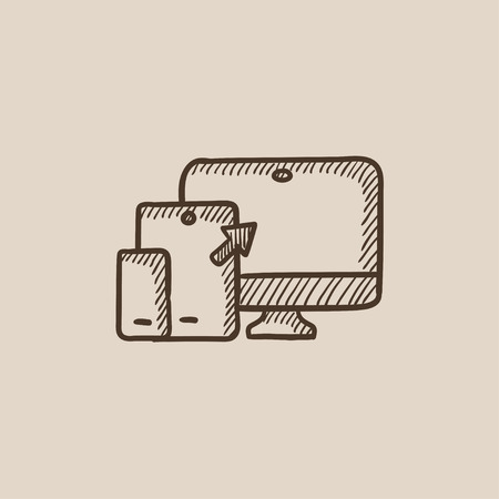 responsive design: Responsive web design sketch icon for web, mobile and infographics. Hand drawn vector isolated icon.