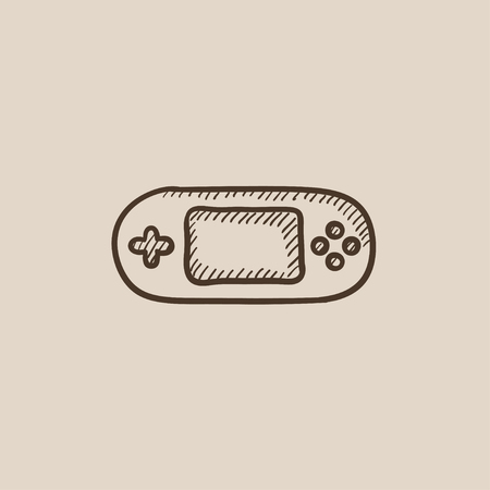 handheld device: Game console gadget sketch icon for web, mobile and infographics. Hand drawn vector isolated icon.