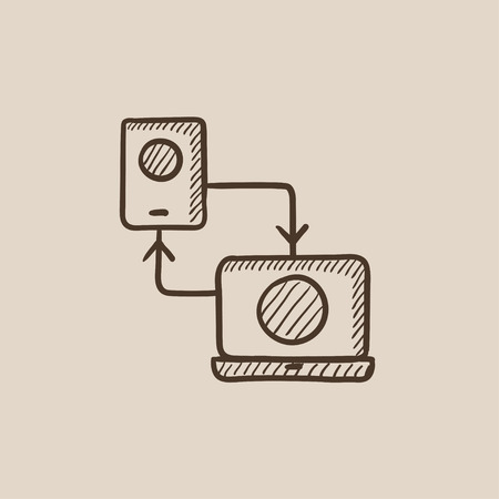synchronization: Synchronization smartphone with laptop sketch icon for web, mobile and infographics. Hand drawn vector isolated icon.