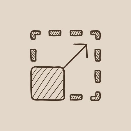 image size: Scalability sketch icon for web, mobile and infographics. Hand drawn vector isolated icon.