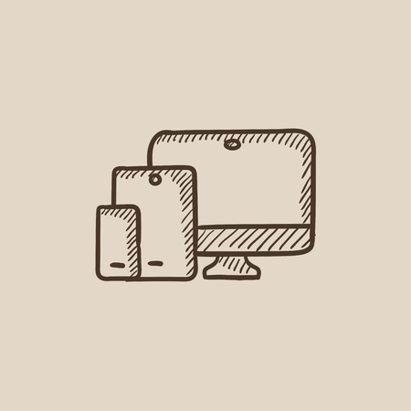 responsive: Responsive web design sketch icon for web, mobile and infographics. Hand drawn vector isolated icon.