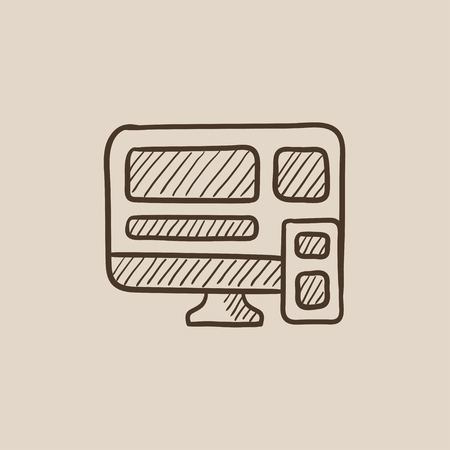 Responsive web design sketch icon for web, mobile and infographics. Hand drawn vector isolated icon.